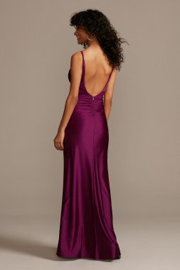 Spaghetti Strap Notch 7881DC8A Dress with Low Ruched Back