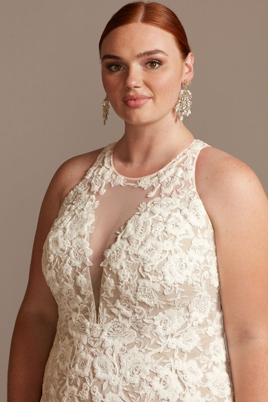 Illusion Keyhole Long Mermaid 9SWG843 Lace Appliqued Plus Size Wedding Gown