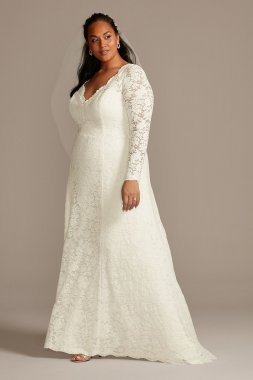Plus Size Long Sleeves 9WG3987 Style Allover Lace Wedding Dress with Scalloped Lace Open Back