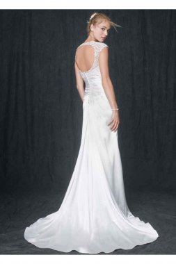 Slim Charmeuse Gown with Lace Keyhole Back Style T3342
