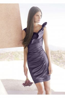 Hammered Satin Side-Draped Dress with Bow Detail Style VW360050
