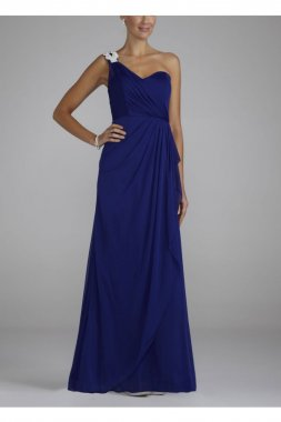 One Shoulder Long Sheer Dress with Jeweled Trim Style XS1934