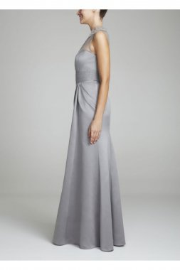 One Shoulder Satin Dress with Beaded Detail Style F15133