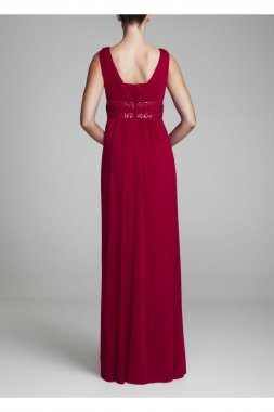 Sleeveless Long Dress with Double Banded Detail Style F15136