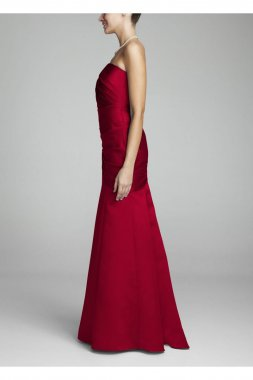 Long Strapless Satin Dress with Side Ruching Style F15142