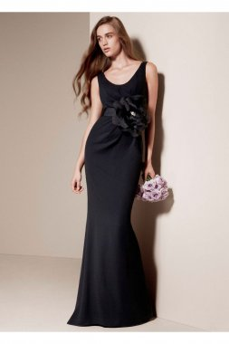 Matte Crepe Column Dress with Cowl Back Style VW360069
