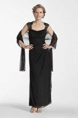 Cap Sleeve Long Jersey Dress with Lace Detail Style XS2195