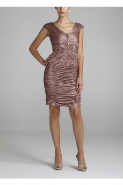 Sleeveless All Over Satin Ruched Dress Style 231M23850