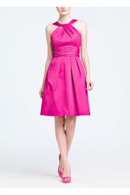 Cotton Short Dress with Y-Neck and Skirt Pleating Style 83690