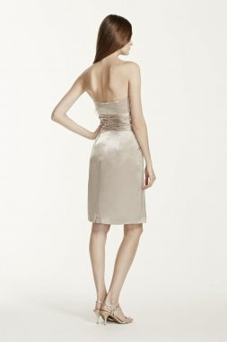 Charmeuse Short Dress with Ruched Waist and Pocket Style 83707