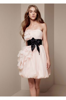 Bubble Dress with Asymmetrical Organza Petals Style VW360094