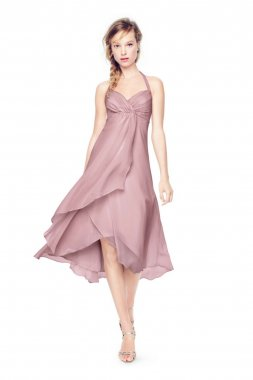 Crinkle Chiffon High Low Halter Dress Style F15417