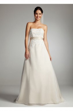 Strapless Lace Bodice with Organza A-Line Skirt Style OP1226