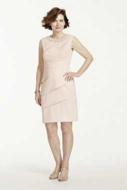 Twill Sleeveless Dress with Pearl Neckline Style T7813822M1