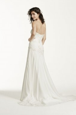 Chiffon Over Satin Gown with Side Draped Skirt Style WG3483