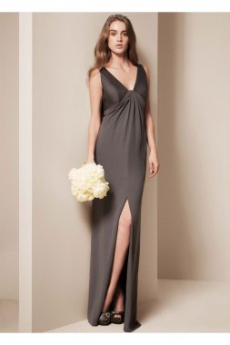 Mikado V Neck Column Dress with Front Slit Style VW360090