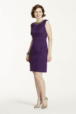 Sleeveless Twill Dress with Beaded Neckline Style T7813245M1