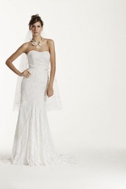 Petite Strapless Lace Gown with Ribbon Detail Style 7WG3381