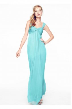 Long Crinkle Chiffon Dress with Twist Front Detail Style F15633