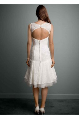 All Over Lace Short Dress with Illusion Neckline Style WG3625