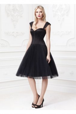 Pleated Tulle Dress with Sweetheart Corset Bodice Style ZP285029