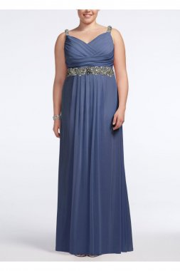 Jersey Dress with Embellished Waist and Straps Style 749418D