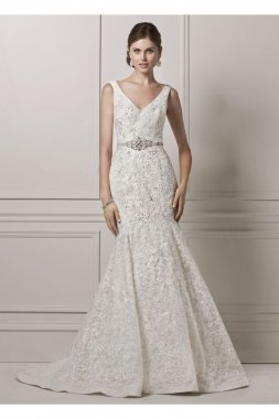 Lace and Deep V Wedding Dress Style CWG621