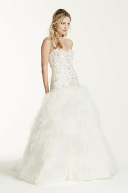 Strapless Tulle Ball Gown with Ruffled Skirt Style V3665