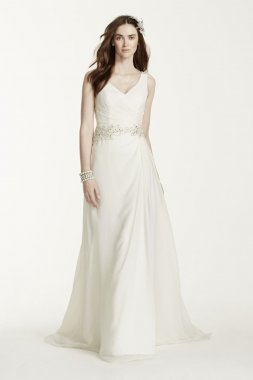 Chiffon A-Line Gown with Beaded Waist Style V3677