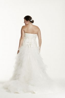 Strapless Tulle Ball Gown with Ruffled Skirt Style 9V3665
