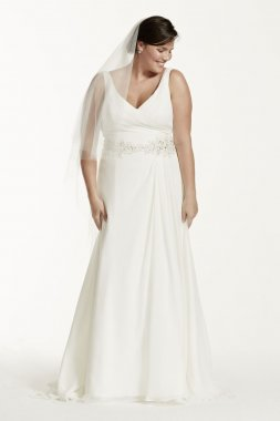 Chiffon A-Line Gown with Beaded Waist Style 9V3677