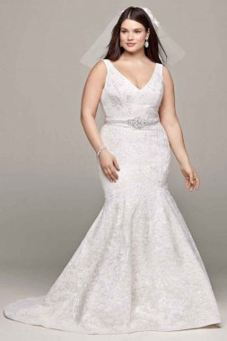Lace and Deep V Wedding Dress Style 8CWG621