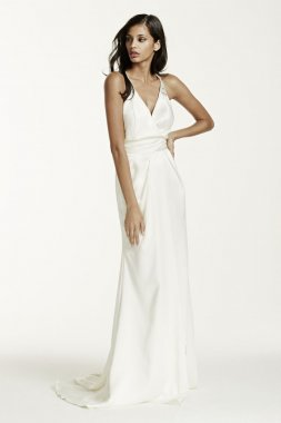Double Faced Satin Gown with Front Slit Detail Style SRL642