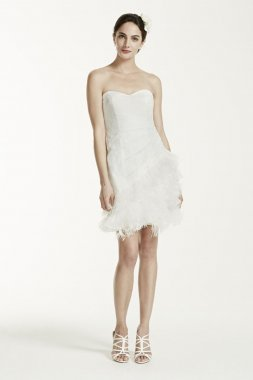 Short Strapless Lace Dress with Feather Trim Style SDWG002