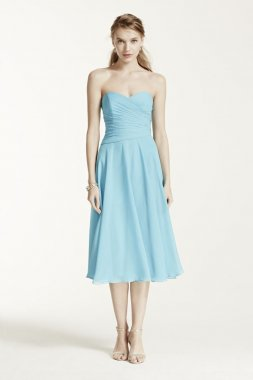 Strapless Crinkle Chiffon Tea Length Dress Style F15722