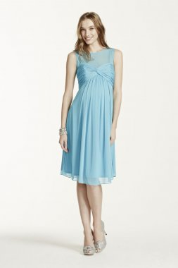 Short Mesh Maternity Dress with Illusion Neckline Style F15725