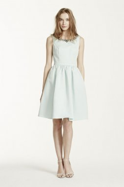 Sleeveless Faille Dress with Beaded Neckline Style F15703