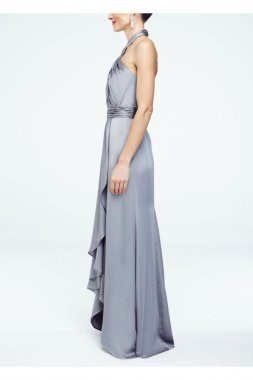 Long Matte Charmeuse Dress with Y Neckline Style F15736