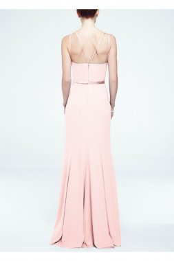 Long Sleevless Crepe Dress with Embellished Belt Style F15638