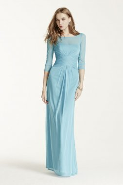 Long Mesh Dress with Illusion Sleeves Style F15757