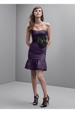 Strapless Floral Jacquard Dress with Flounced Hem Style VW360173