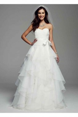 Strapless Organza Ball Gown with Ruffled Skirt Style MK3667
