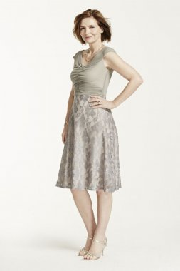 Cap Sleeve Sheer Mesh Dress with Lace Skirt Style AWANE53M