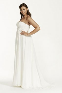 Crinkle Chiffon Gown with Lace Applique Style 9KP3695