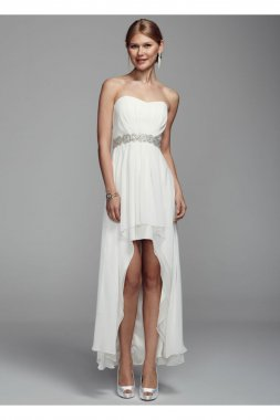 Strapless Chiffon High Low Gown with Beaded Waist Style XS1940