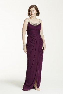 Sleeveless Long Dress with Illusion Neckline Style 061898770