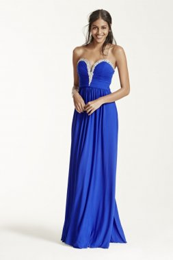 Strapless Embellished Deep Plunge Dress Style DB01