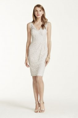 Short Tank Lace Dress with V Neckline Style F15952