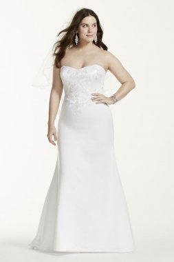 Lace Applique Satin Sweetheart Trumpet Gown Style 9WG3715
