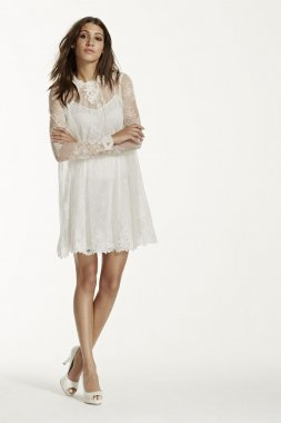 Lace Short Dress with Illusion Long Sleeves Style KP3703